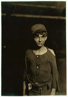 A typical Glass Works Boy, Indiana, Night Shift, Said he was 16 years old. 1 A.M.   (Lewis Wickes Hine, photographer)