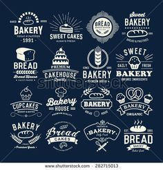 Retro Bakery labels, logos, badges, icons, objects and elements. Bakery Branding, Bakery Logo Design, Badge Icon, Badges, Apple Art, Cafe Logo, Music Logo, Logo Restaurant, Cafe Menu