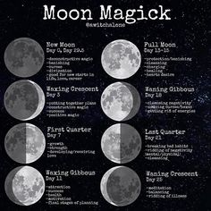 new moon ritual ? In this post I've also included around what day in the moon cycle you will find these specific phases. New Moon Rituals, Full Moon Ritual, Full Moon Spells, Lunar Magic, Moon Magic, Moon Calendar, Moon Witch, Wiccan Spells, Magick Book