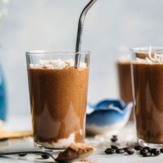A chocolate espresso smoothie made with toasted coconut flakes and coconut milk for added flavor.