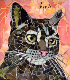 chat en mosaique - cat mosaic by Anne BEDEL http://www.admiroutes.asso.fr/art/bedel/
