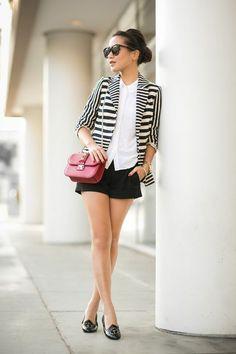 Tick Tock :: Striped blazer & Embellished flats (via Bloglovin.com )