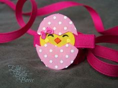 Hatching Chick Ribbon Sculpture Hair Clip Chick in an Egg