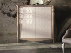 Mueble de entrada con  interior bar lacado  con puertas grabadas  en alto brillo. Mod: GAPA 9730-G
