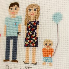 2 Adults And 2 Kids. Custom Cross Stitch Family by RussianStitches