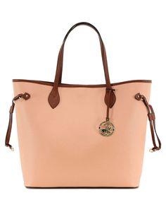 Powder & tan zip shoulder bag - Beverly Hills Polo Club