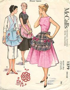 1940's 1946 McCall 1279 Apron vintage sewing pattern reissued in the 1950's with a new picture on the cover.