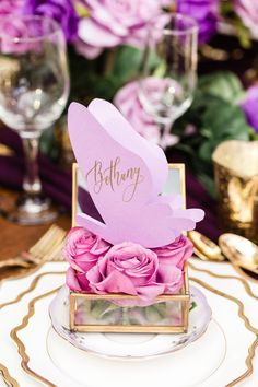 One thing's for certain: This purple styled shoot is definitely Pantone-approved! Ultraviolet (otherwise known as Pantone's 2017 Color of the Year) comes to life in this enchanted setting fit for any modern day princess bride. Wedding Table Deco, Wedding Reception Design, Wedding Table Settings, Wedding Designs, Wedding Details, Wedding Decorations, Butterfly Wedding, Purple Butterfly, Purple Roses