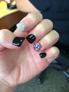 Confederate Flag Acrylic Nails Best Nail Designs 2018
