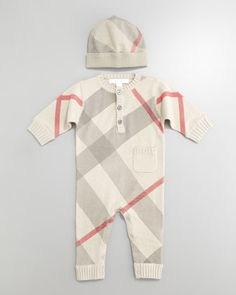 sooo cute though $155 for a baby outfit- really?Check Hat & Jumper by Burberry at Bergdorf Goodman.