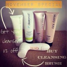 What a great deal! I am offering 1/2 price off a cleanser with the purchase of a skinvigorate cleansing brush!  This was popular back in November so I'm bringing it back order now free shipping www.marykay.com/vanessamckenzie
