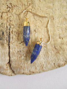 Lapis Lazuli Spike Earrings Gemstone Points 14K by julianneblumlo