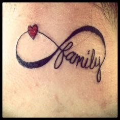 Infinity heart and family symbol tattoos
