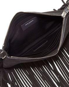 Monogram Suede Fringe-Edge Crossbody Bag, Black
