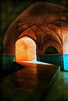 LOVE these brick patterns, could be beautiful somewhere. Old bath in Qazvinحمام قجر