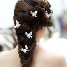 6pc Butterfly bridal hair pin,wedding hairpiece,Bridal hair accessories,head flower in handmade,bridal hair clip