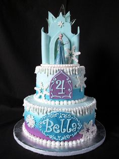 "Frozen Ice Castle Cake 6"" & 8"" buttercream. Fondant and gumpaste accents. Also hard candy 'ice'.Mini battery-..."