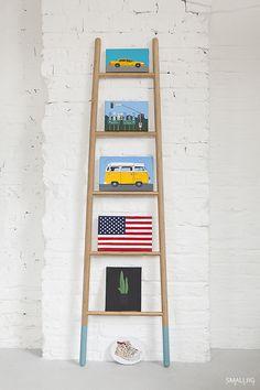 © smallbigidea.com bamboo BoConcept ladder with Magdalena Syboń paintings.