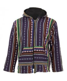 LOUDelephant Fleece Lined Woven Zip Hoodie - Purple, Maroon & Blue