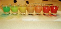 Rainbow Shots Recipe- @Mary Ellen Sommer Go in YouTube and go watch how these things are made! It's awesome! And not only that, but the stuff that's in them sound good too! #goalinlife #successfullymakerainbowshots