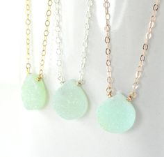 Druzy Necklace, Mint Green, Rose Gold, Yellow Gold, Sterling Silver, Chalcedony Drusy, Wedding Jewelry, Bridal Party