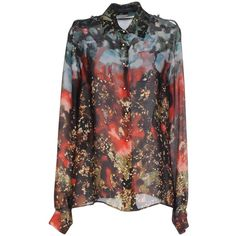Elie Saab Shirt ($1,115) ❤ liked on Polyvore featuring tops, red, multi colored long sleeve shirt, colorful tops, long sleeve shirts, colorful shirts and multi color tops