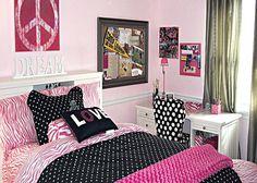 Pink Black Color Combination Bedroom Decorating Ideas for Teenage Girls Diy For Teens