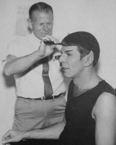 """Spock"" aka Leonard Nimoy in makeup on the set of Star Trek."