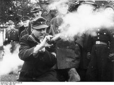 German Volkssturm soldier firing a Panzerfaust in training, Germany, Mar 1945 (German Federal Archive, Bild 146-1973-001-36)