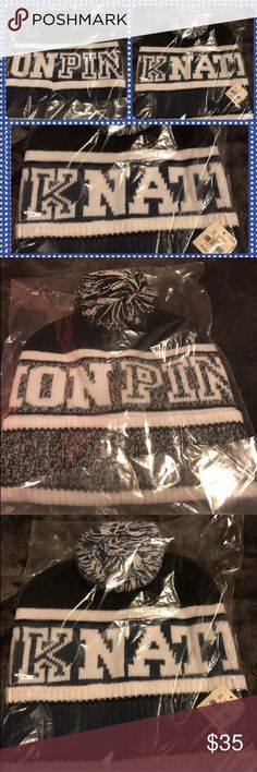 BNWY Pink Victoria'sSecret Blue Promo Beanie BNWT Pink Nation Promo Beanie with pompon.  Slate blue, white and black.  One size.  Super soft and super cute!  No trades. Will price drop. PINK Victoria's Secret Accessories Hats