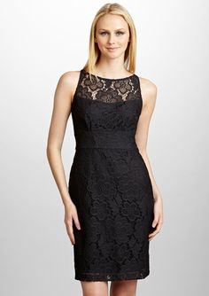ad98840aa187e Sandra Darren - Lace Sleeveless Dress Lace Dress Black