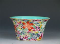 """Antique Chinese Famille Rose Porcelain Bowl, """"Thousands Flowers"""" Pattern, Red Mark, early 20th Century. Ht: 2 1/4 inches. Diameter: 4 inches."""
