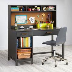 """Cargo Desk & Hutch (Charcoal) $900 with hutch. 48""""W x 24""""D x 52""""H w/ hutch"""