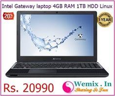 Intel Gateway laptop 4GB RAM 1TB HDD Linux Rs 20990