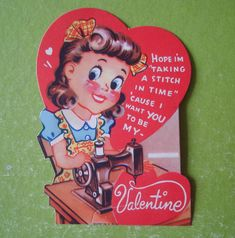 Vintage Valentine Card Sewing Machine Girl Die Cut 1940'S | eBay
