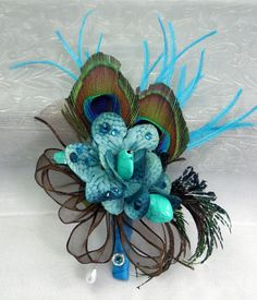 Teal & Brown Jeweled Corsage by annasinclair on Etsy, $35.00 @Melissa Squires Squires Squires Tan