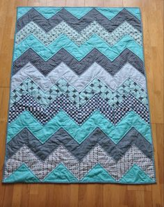 chevron quilt quilted and binded!