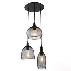 Unitary Brand Rustic Black Metal Cage Shade Dining Room Pendant Light with 3 Bulb Sockets Painted Finish Metal Net, Country Dining Rooms, Modern Contemporary Homes, Game Room Design, Multi Light Pendant, Thing 1, Kitchen Pendants, Industrial Table, Pendant Lighting