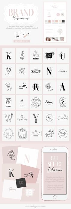 Floral logo branding inspiration, logo templates and ideas for your brand identity and blog. Find the Floriana Creator Studio by Blog Pixie now on Creative Market.