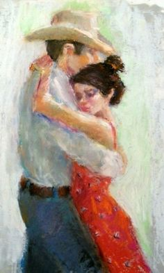 Two Step Romance - original oil pastel figurative painting of dancers, painting by artist Connie Chadwell