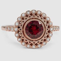A unique vintage-inspired garnet engagement ring. Engagement Rings Appraisal for Rose Gold Diamond Cluster Red Spinel Gemstone Engagement Ring… Antique Style Crown Setting. Garnet Jewelry, Sapphire Jewelry, Gold Earrings, Sapphire Rings, Gold Jewellery, Ruby Rings, Ruby Diamond Rings, Emerald Rings, Jewellery Shops