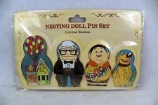 Disney DSF DSSH Pixar UP Nesting Doll 4 Pin Set Pins Russel Carl Dug LE 300