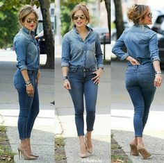 Pretty much my body type, minus the 6 pack abs of course. My bottom is less perky but Jennifer Lopez is my figure sister. J Lo Fashion, Denim Fashion, Autumn Fashion, Womens Fashion, Classy Outfits, Chic Outfits, Fall Outfits, Fashion Outfits, Looks Total Jeans