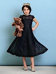 Lanting Bride® Hasta el Gemelo Encaje Vestido de Dama de Honor Junior Corte en A / Princesa Joya con