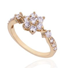 18K Gold Plated Delicate Flower Shape Copper Finger Ring Inlay White Zircon Three Sizes