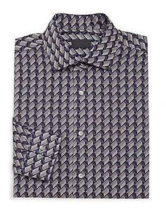 Pal Zileri Slim Chevron-Pattern Shirt - Black - Navy - Size
