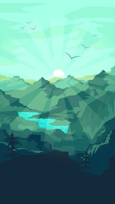 Graphic design wallpaper by illustrator Landscape Wallpaper, Scenery Wallpaper, Nature Wallpaper, Wallpaper Backgrounds, Iphone Wallpaper, Wallpaper Wallpapers, Green Landscape, Landscape Art, Mountain Landscape