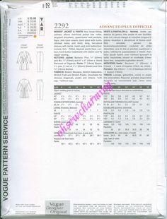 Vogue # 2292 - A Designer Original Sewing Pattern. Jacket and pants design by…