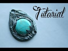 Silver & Turquoise Polymer Clay Feather Pendant #Polymer #Clay #Tutorials