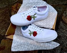 d20af4a01524 All White Roses Custom Vans